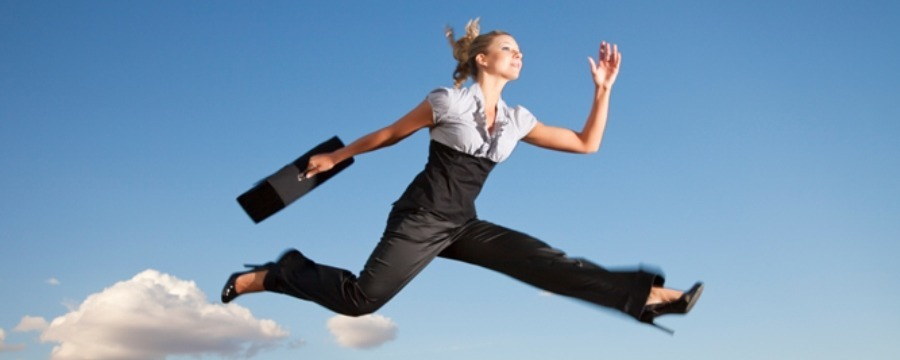 Business woman running to get quick life insurance